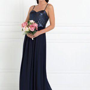 Full Sequin Top Chiffon Long Dress GSGL2416